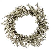 "28"" White Indoor/Outdoor Berry Wreath"