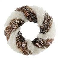 "10"" Snow and Pine Cone Twisting Wreath"
