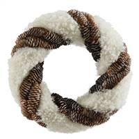 "13"" Snow and Pine Cone Twisting Wreath"