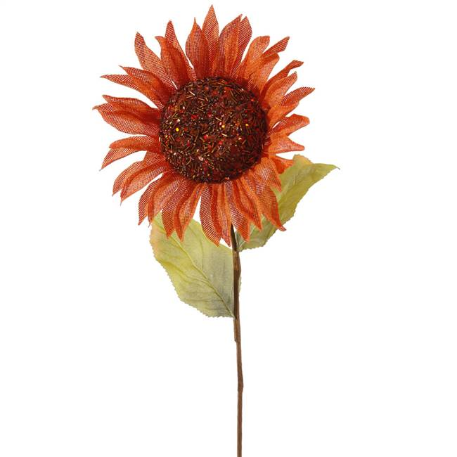 "22"" Orange Burlap Sunflower 7"" Flower"