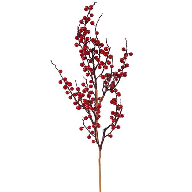 "30"" Red Wild Outdoor Berry Spray"