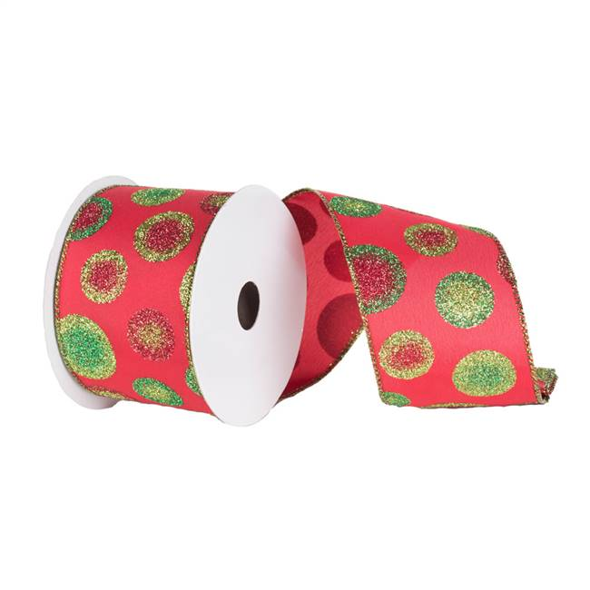 "2.5"" x 10yd Red Red-Grn Dots Ribbon"