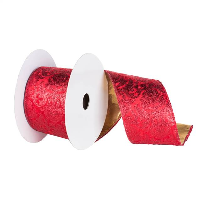 "2.5"" x 10yd Red Gold Embossed Ribbon"