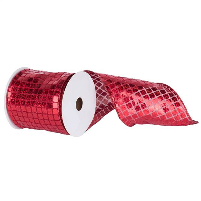 "6"" X 10yd Red Mesh Metallic Check"