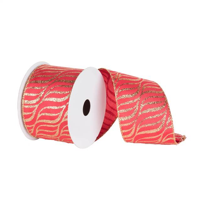 "2.5"" x 10yd Red Gold Zebra"