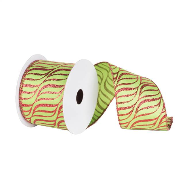 "2.5"" x 10yd Lime Red Zebra"