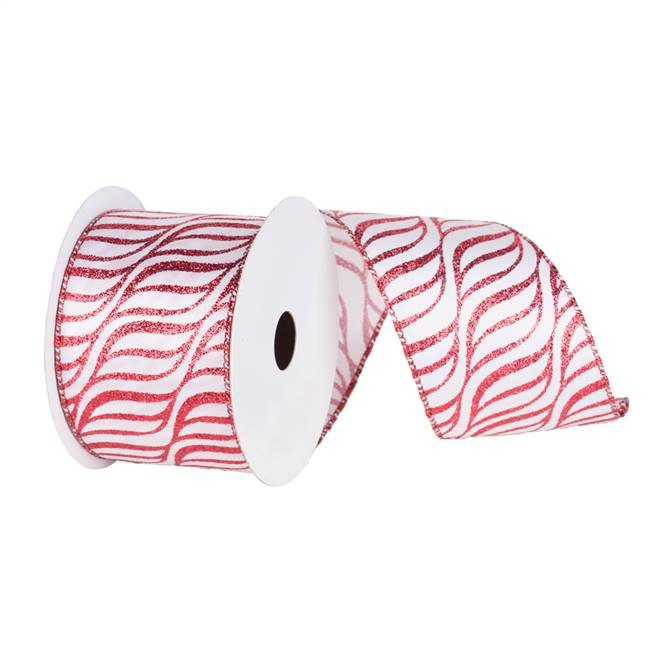 "2.5"" x 10yd White Red Zebra"