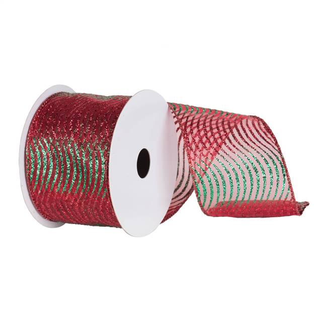 "4"" x 10yd Red-Green Glitter Swirl Mesh"