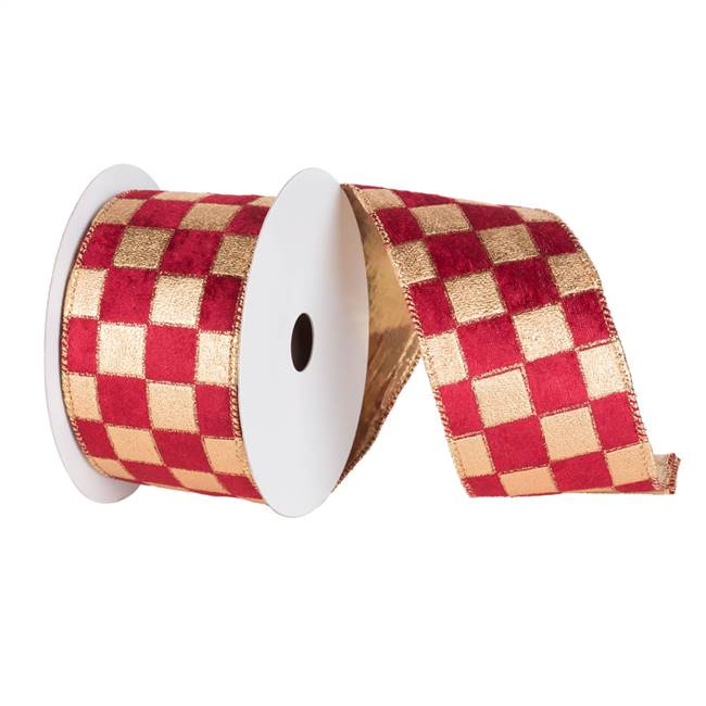 "6"" x 10yd Gold-Burgundy Check Lame"