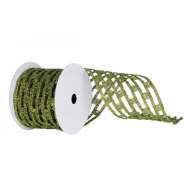 "4"" Lime Metallic Rectangle Wired Mesh"