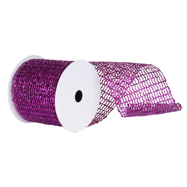 "4"" x 10yd Purple Metallic Wired Mesh"