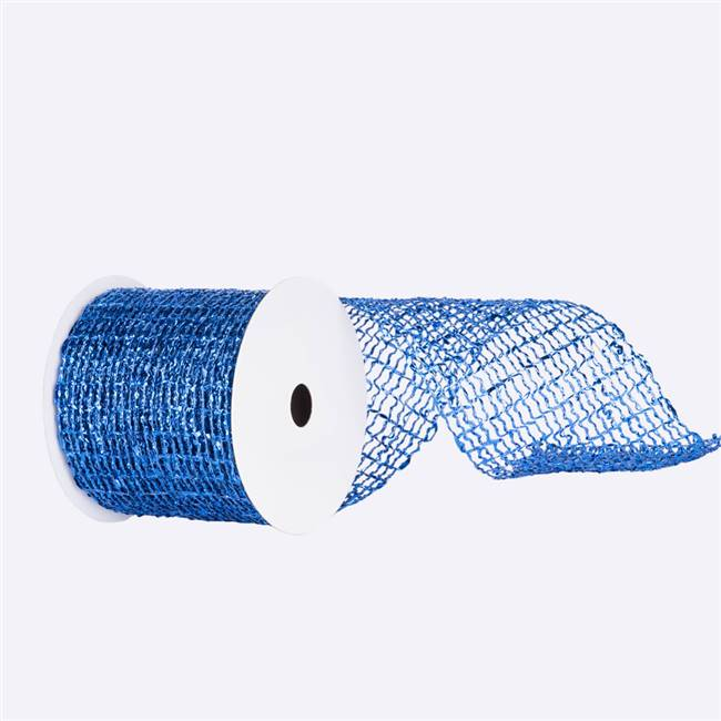 "6"" x 10yd Blue Metallic Wired Mesh"