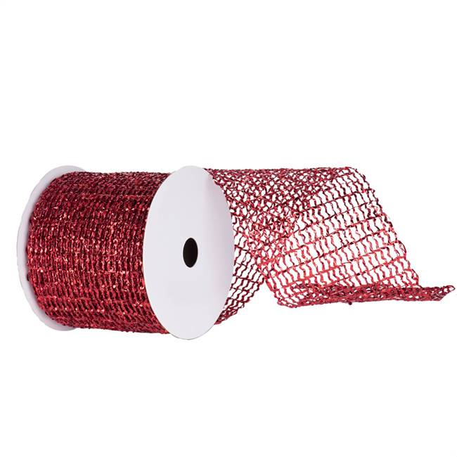 "4"" x 10yd Red Metallic Wired Mesh"