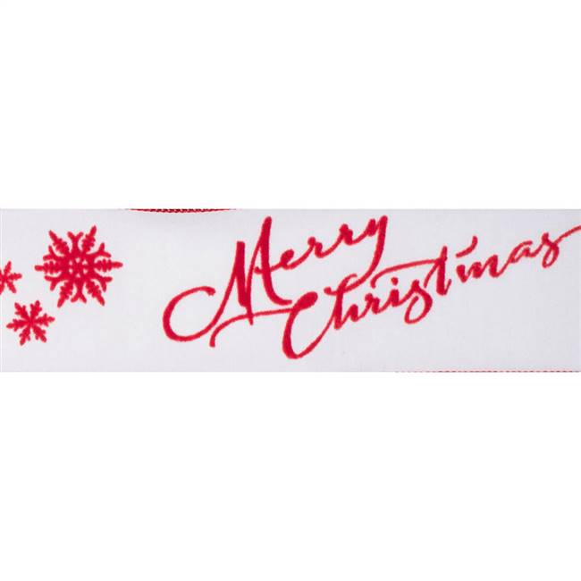 "2.5"" x 10Yd Ivory Red Merry Christmas"