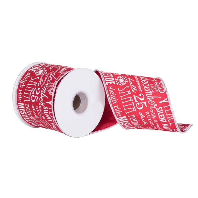 "4"" x 10Yd Red White Holiday Word Dupion"