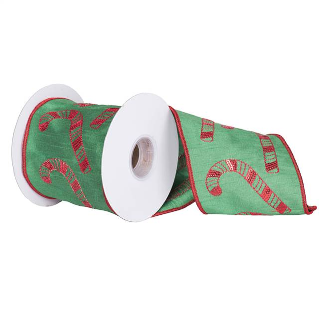 "4"" x 5Yd Red Candy Cane Green Dupion"