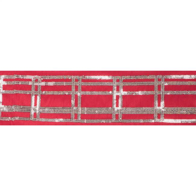 "4"" x 5Yd Gold Sequin Plaid Red"