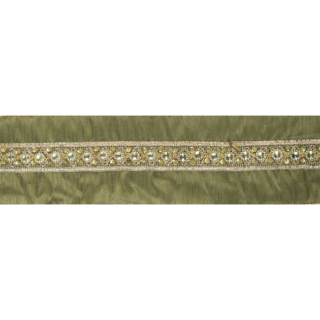 "4"" x 5Yd Gold Sequin Trim Olive"