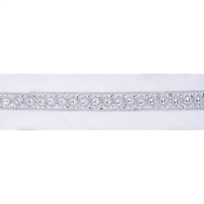 "4"" x 5Yd Silver Sequin Trim White"