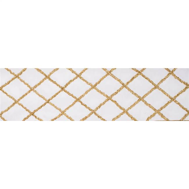 "4"" x 5Yd Gold Chenille Diamond Ivory"