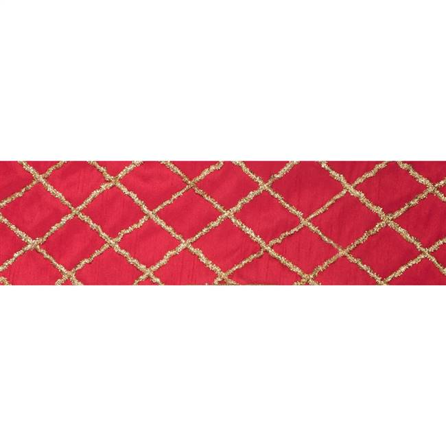 "4"" x 5Yd Gold Chenille Diamond Red"