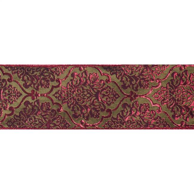 "4"" x 10Yd Red Lime Damask Jacquard"