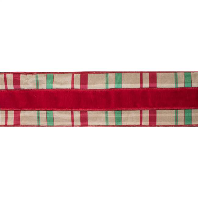 "4"" x 5Yd Red Green Check Velvet Dupion"