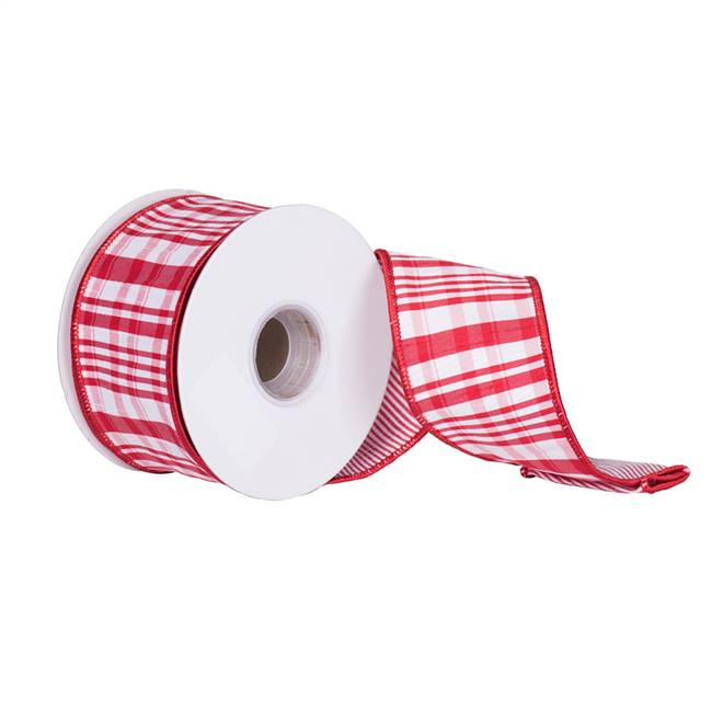 "2.5"" x 10Yd Red White Scandia Plaid"