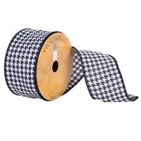 "2.5"" x 10yd Black White Houndstooth Wire"