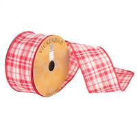 "2.5"" x 10yd Cream Red Plaid Woven Wired"