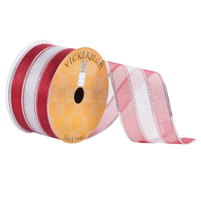 "2.5"" x 10yd Silver Red Sheer Stripe Wire"