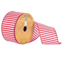 "2.5"" x 10yd White Red Nylon Stripe Wired"