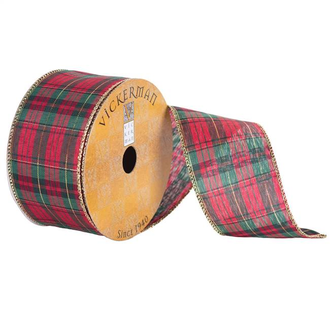 "2.5"" x 10yd Red Green Plaid"