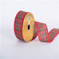 "2.5"" X 10yd Red Green Blue Gold Plaid"