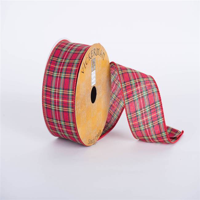 "2.5"" x 10yd Red Green Yellow Plaid"