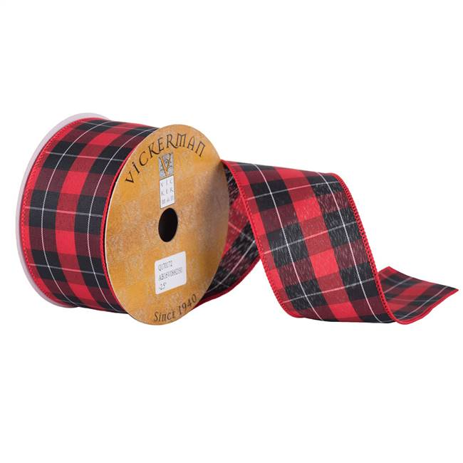 "2.5"" x 10yd Red White Black Plaid"