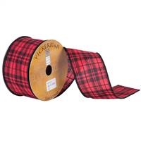 "2.5"" x 10yd Red Black Plaid Wired"