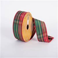 "2.5"" x 10yd Red Green Satin Plaid"
