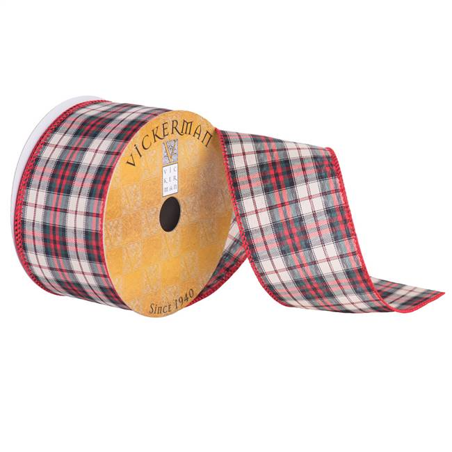 "2.5"" x 10yd Red Tan Green Plaid"