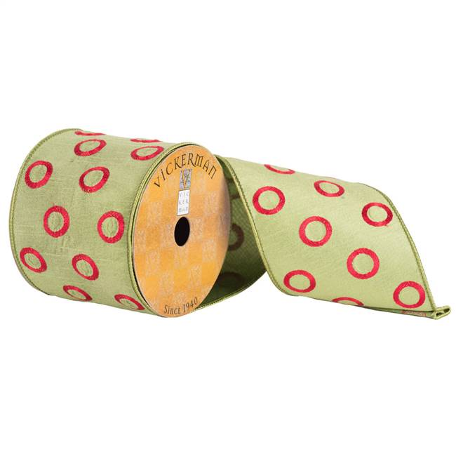 "4"" x 10yd Green with Red Circles"