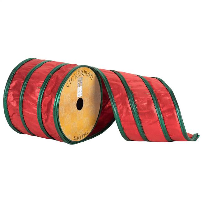 "4"" x 10yd Red Green Metallic Stripes"