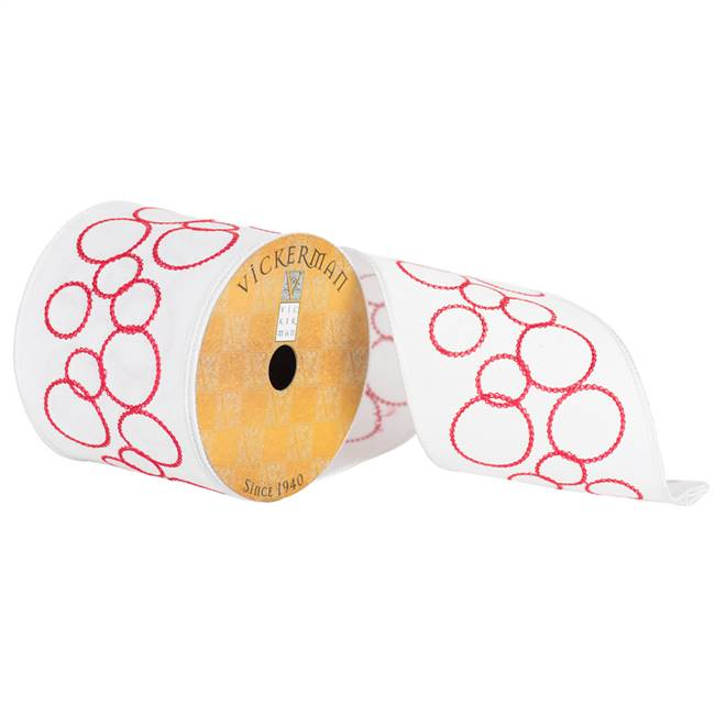 "4"" x 10yd White Red Joint Circles"