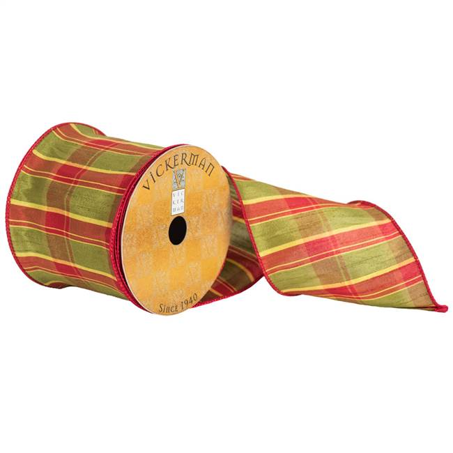 "4"" x 10yd Red Green Yellow Plaid"