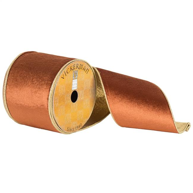 "4"" x 10yd Copper Plush Velvet Gold Edge"