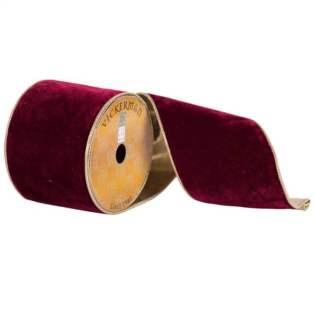 "4"" x 10yd Ruby Red Plush Velvet Gold"