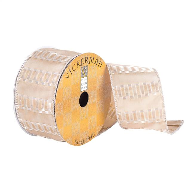 "2.5""x10Yd Champagne Fret Stripe Ribbon"