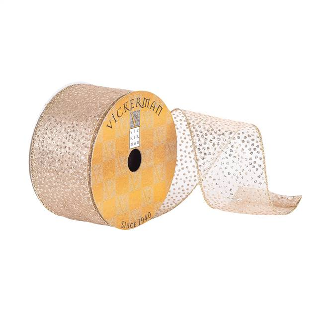 "2.5""x10Yd Champagne Glitter Dots Sheer"