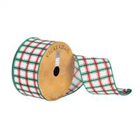 "2.5""x10Yd White/Red/Green Plaid"