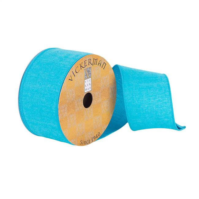 "2.5""x10Yd Turquoise Woven Dupion"