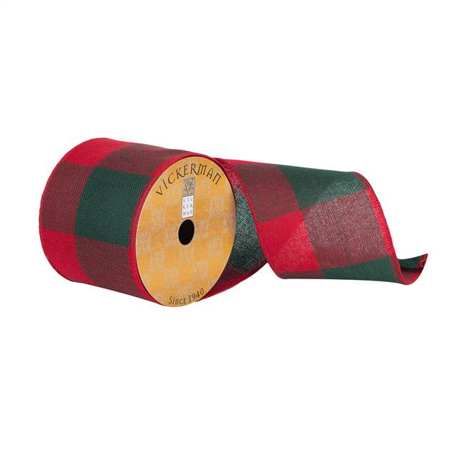 "4""x10Yd Red/Green Soft Plaid Ribbon"